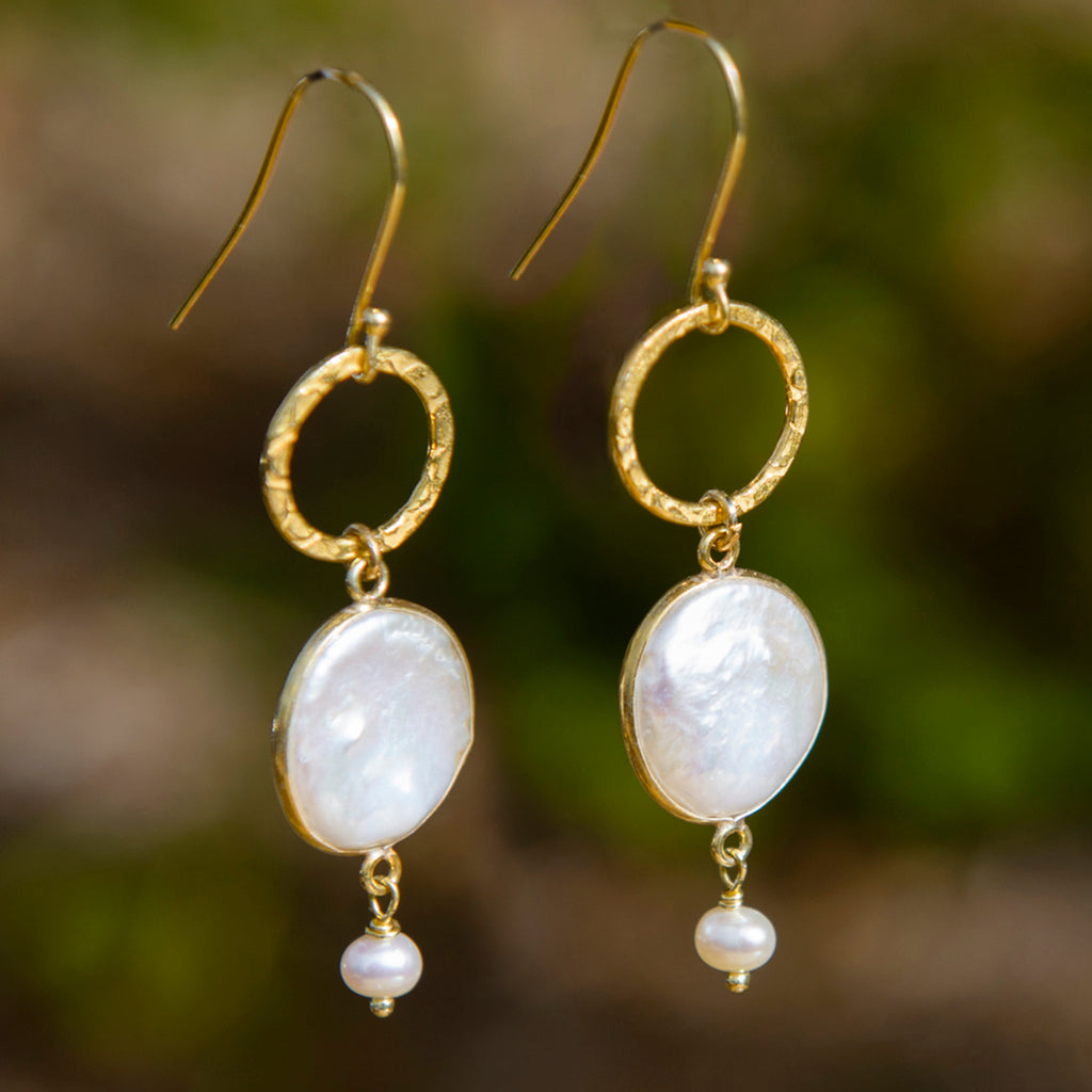 Coin Pearl & Halo Drop Earrings