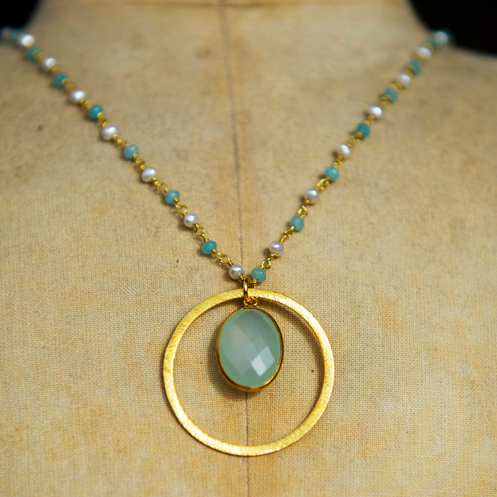 Aqua Chalcedony & Pearl Large Halo Necklace