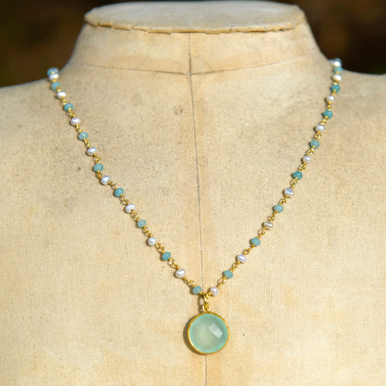 Aqua Chalcedony & Pearl Necklace