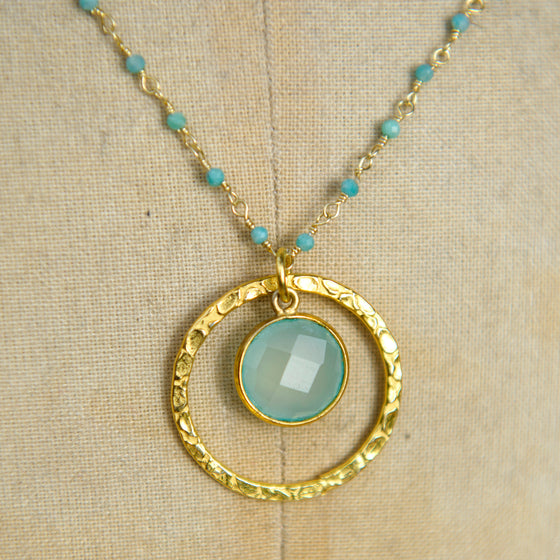 Aqua Chalcedony Medium Halo Necklace