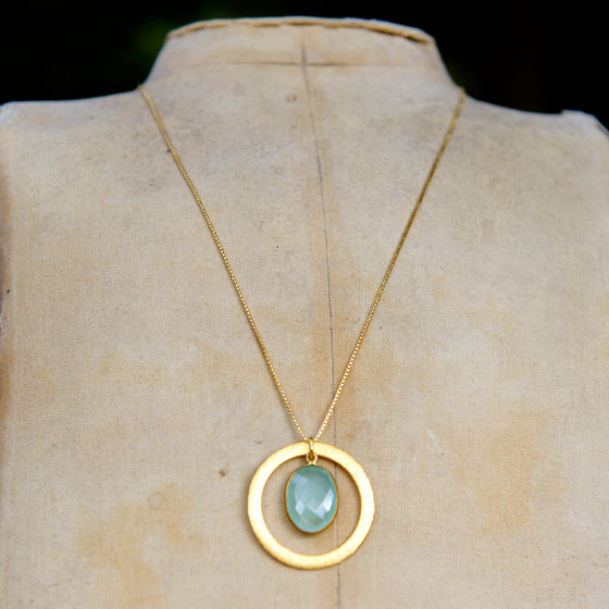 Aqua Chalcedony Halo Necklace