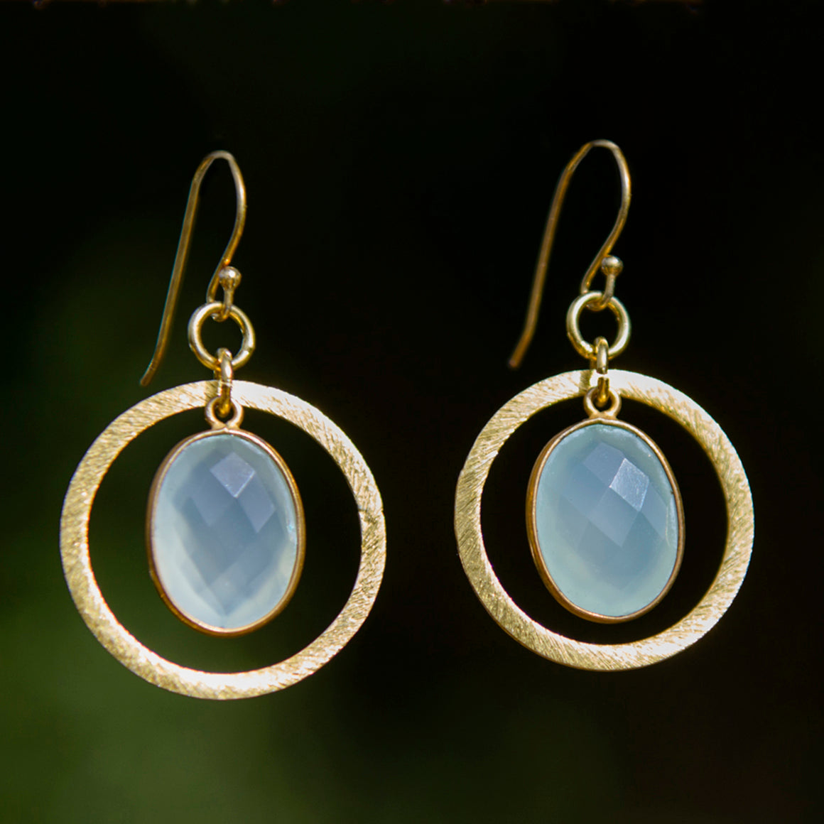 Aqua Chalcedony Halo Earrings