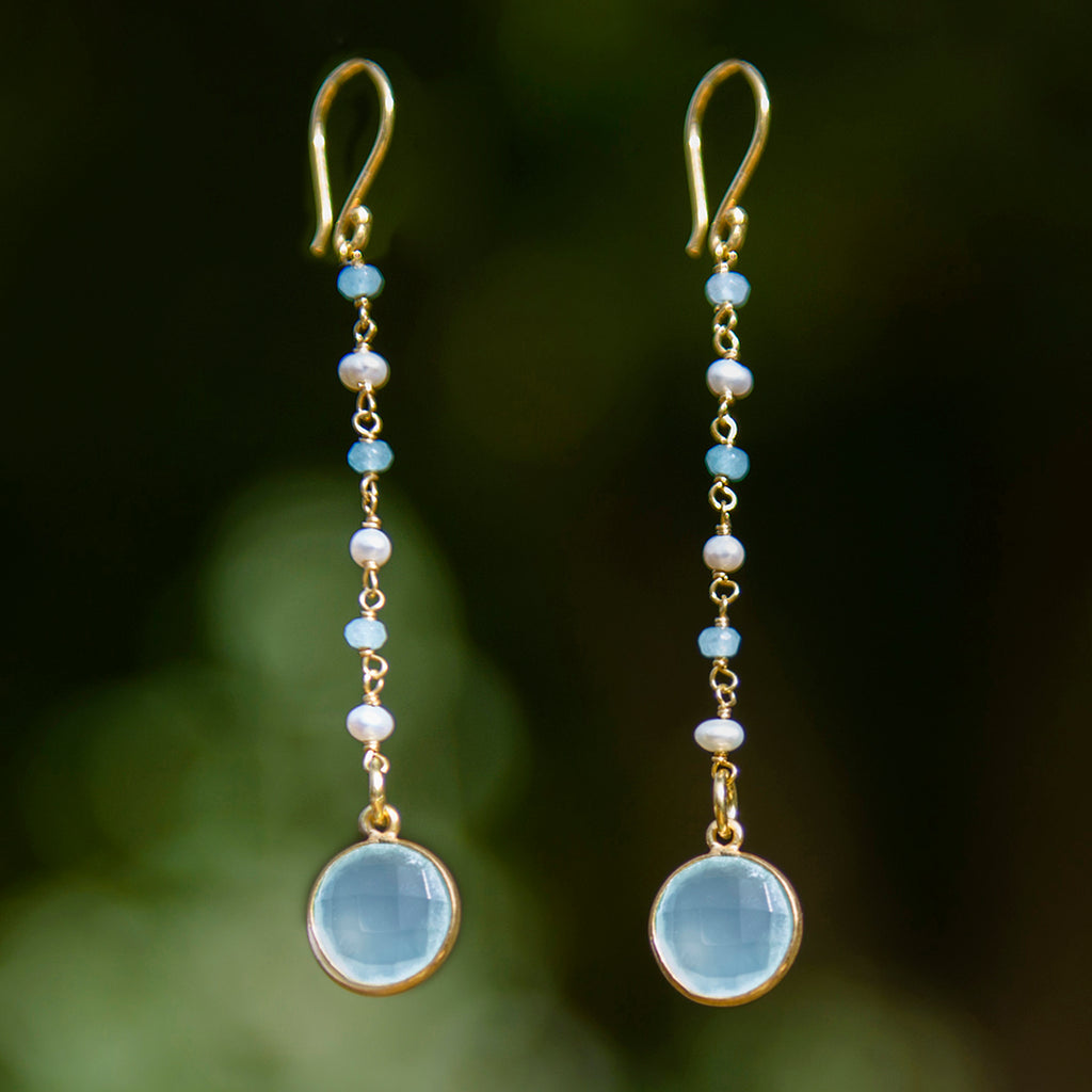 Long Aqua Chalcedony Earrings