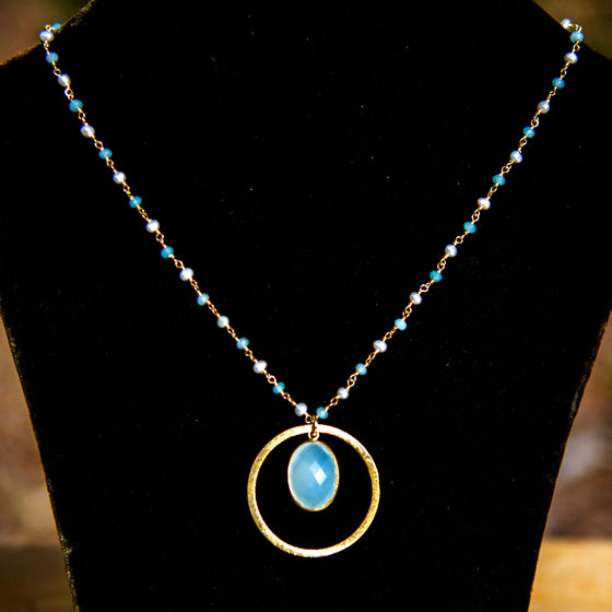 Aqua Chalcedony & Medium Halo Necklace