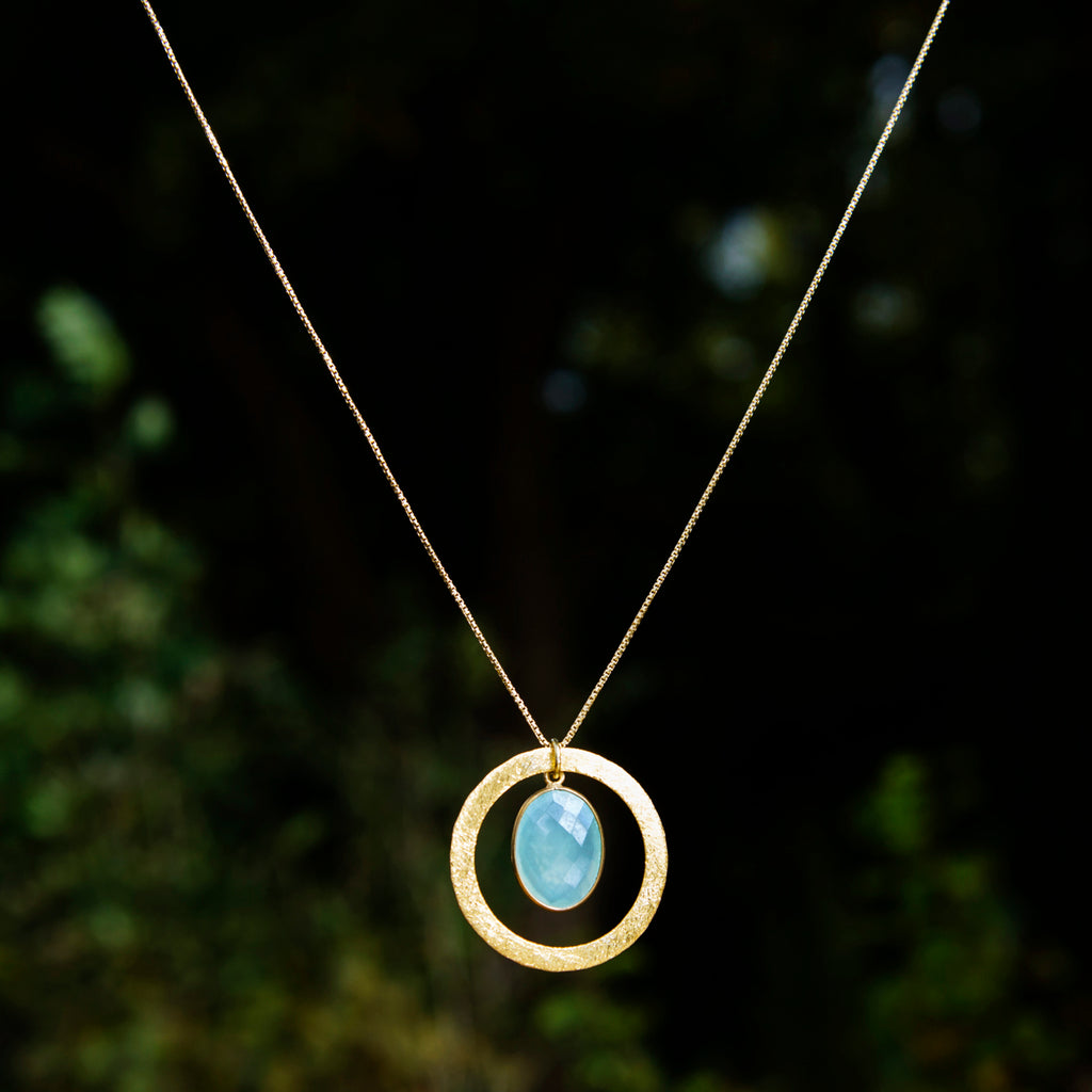 Aqua Chalcedony & Halo Necklace