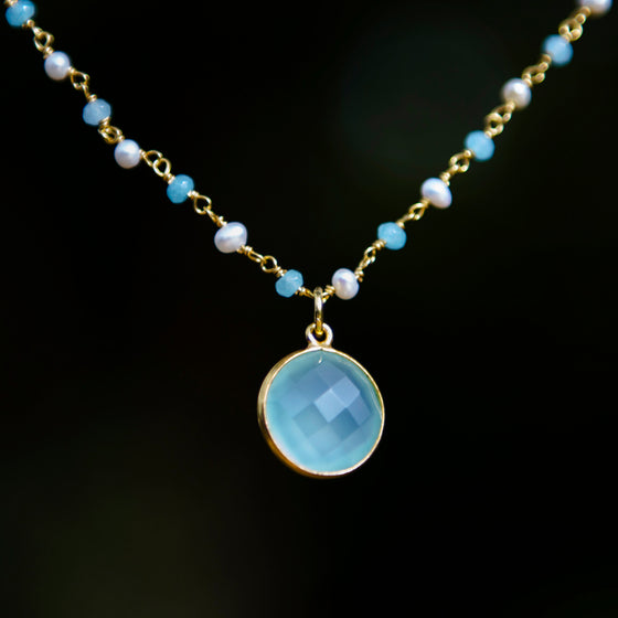 Aqua Chalcedony & Pearl Halo Necklace
