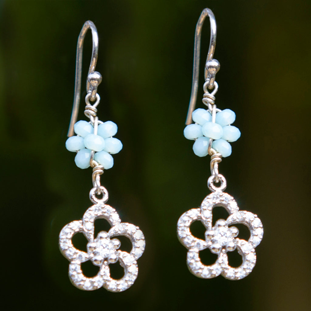 Aqua Crystal & Cubic Zirconia Flower Earrings
