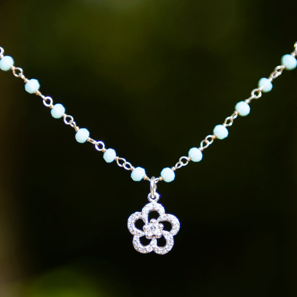 Aqua Crystal & Cubic Zirconia Flower Necklace