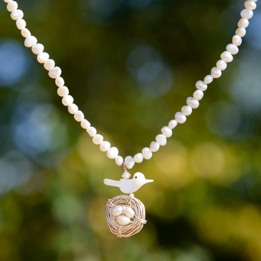 Bird on Nest Freshwater Pearl Necklace
