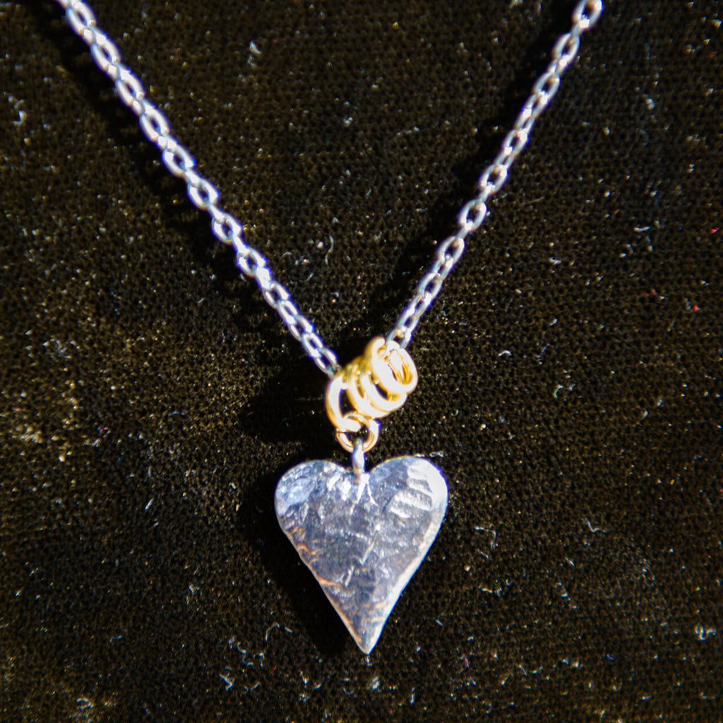 Oxidised Heart & Gold Link Necklace
