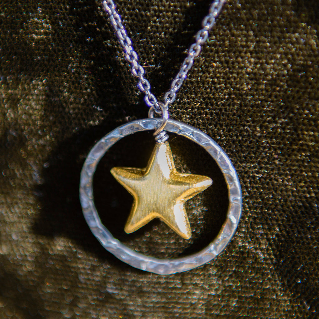 Oxidised Halo & Gold Star Necklace