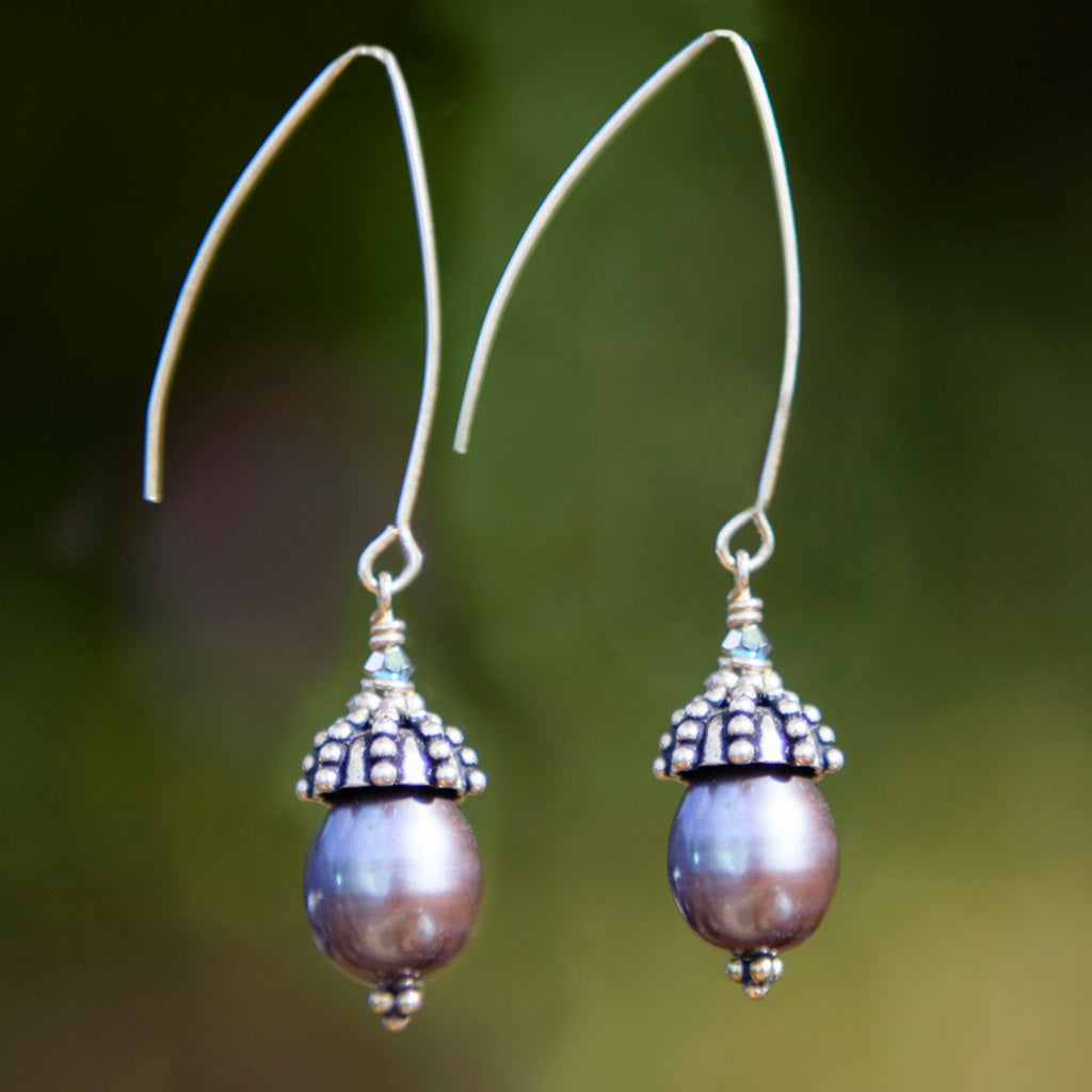 Silver Capped Arc Pearl Earrings