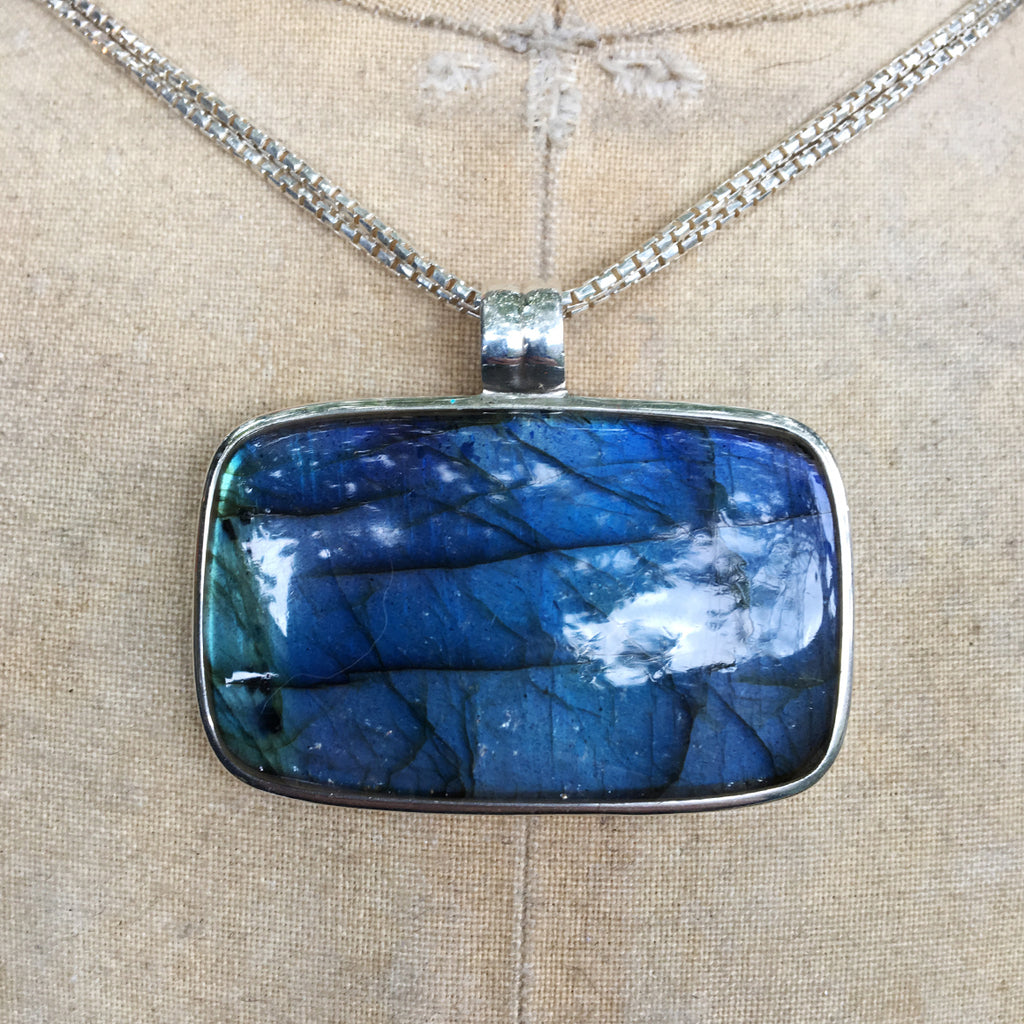 Labradorite, AAA Quality, Rectangular Pendant On Double Chain Necklace