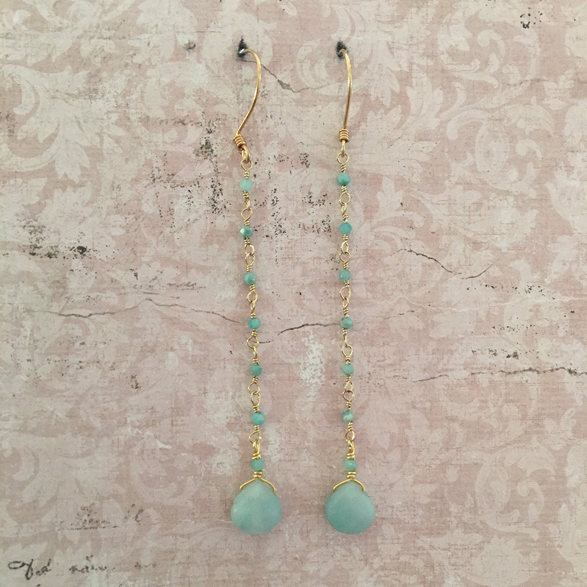 Amazonite and Chain Earrings