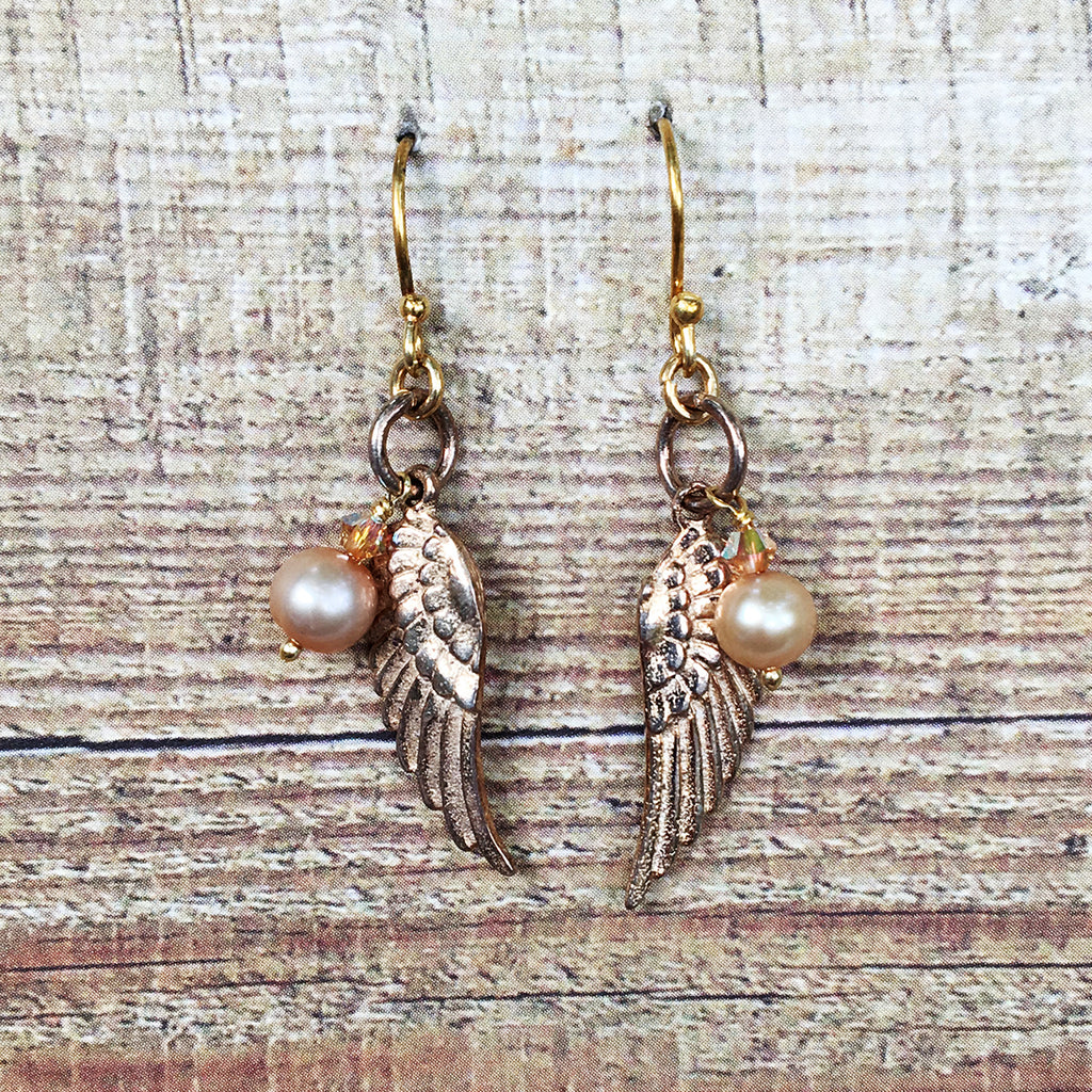 Angel Wing and Pearl Earrings