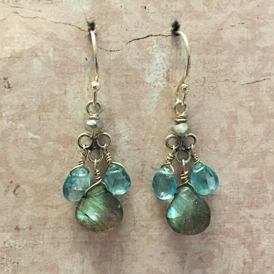 Apatite and Labradorite Briolette Earrings