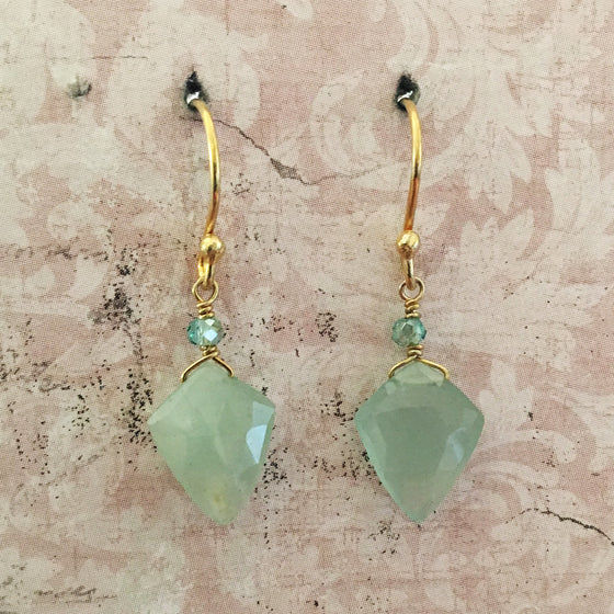 Aqua Arrowhead Earrings
