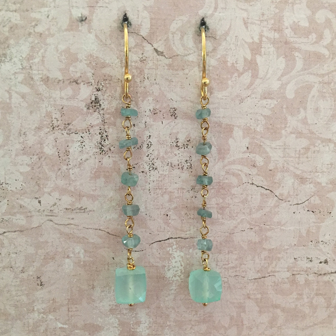 Aqua Chalcedony Cube and Apatite Chain Earrings