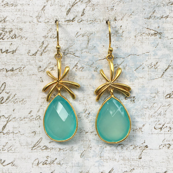 Aqua Chalcedony Palm Earrings