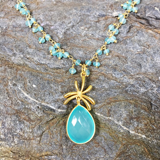 Aqua Chalcedony Palm Necklace