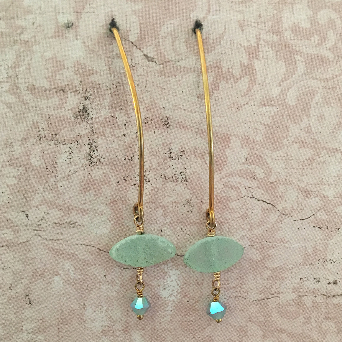 Aqua Druzy Arc Earrings