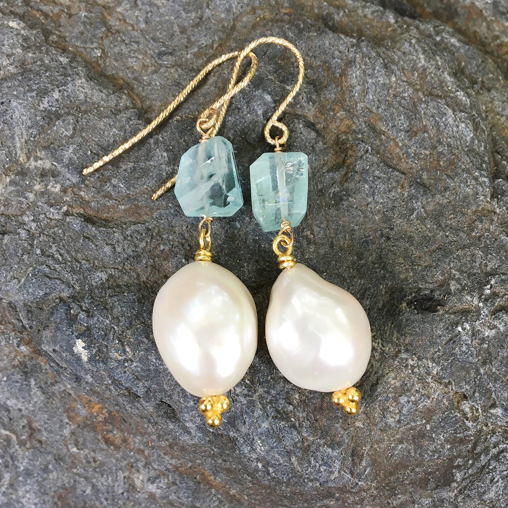 Aqua Marine Faceted Nugget with Large Baroque Pearl Earrings