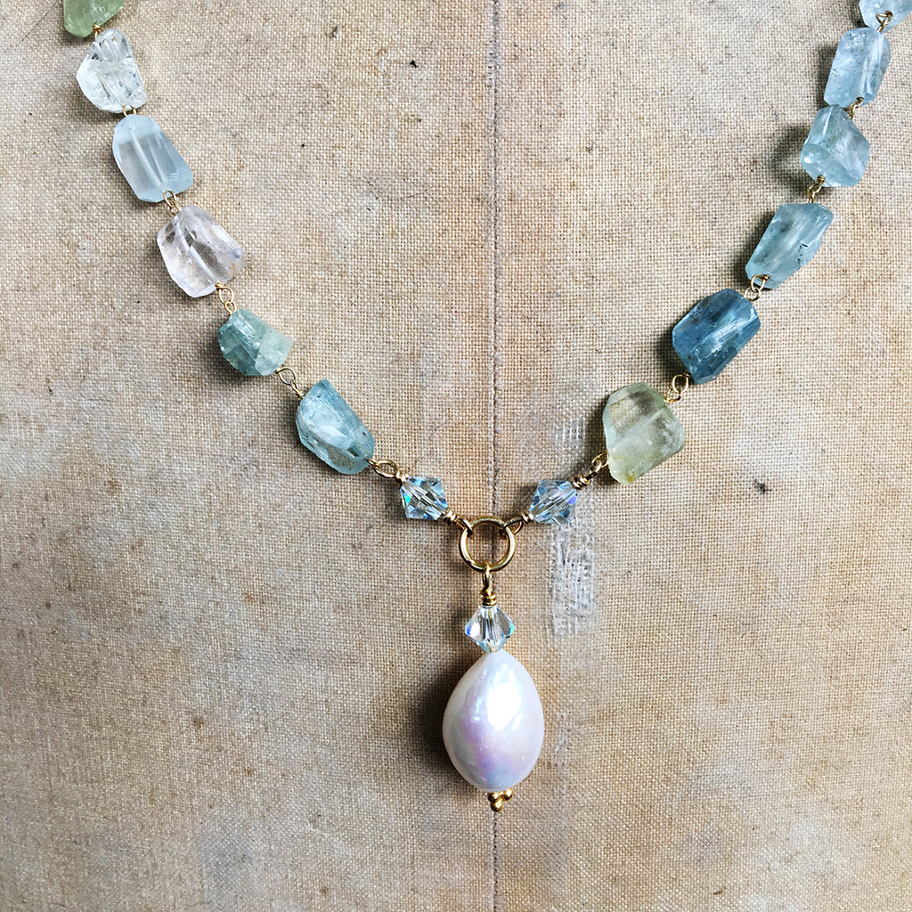 Aqua Marine Faceted Nuggets with Large Baroque Pearl Drop Necklace