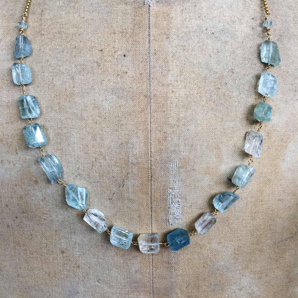 Aqua Marine Faceted Nuggets on Gold Chain Necklace