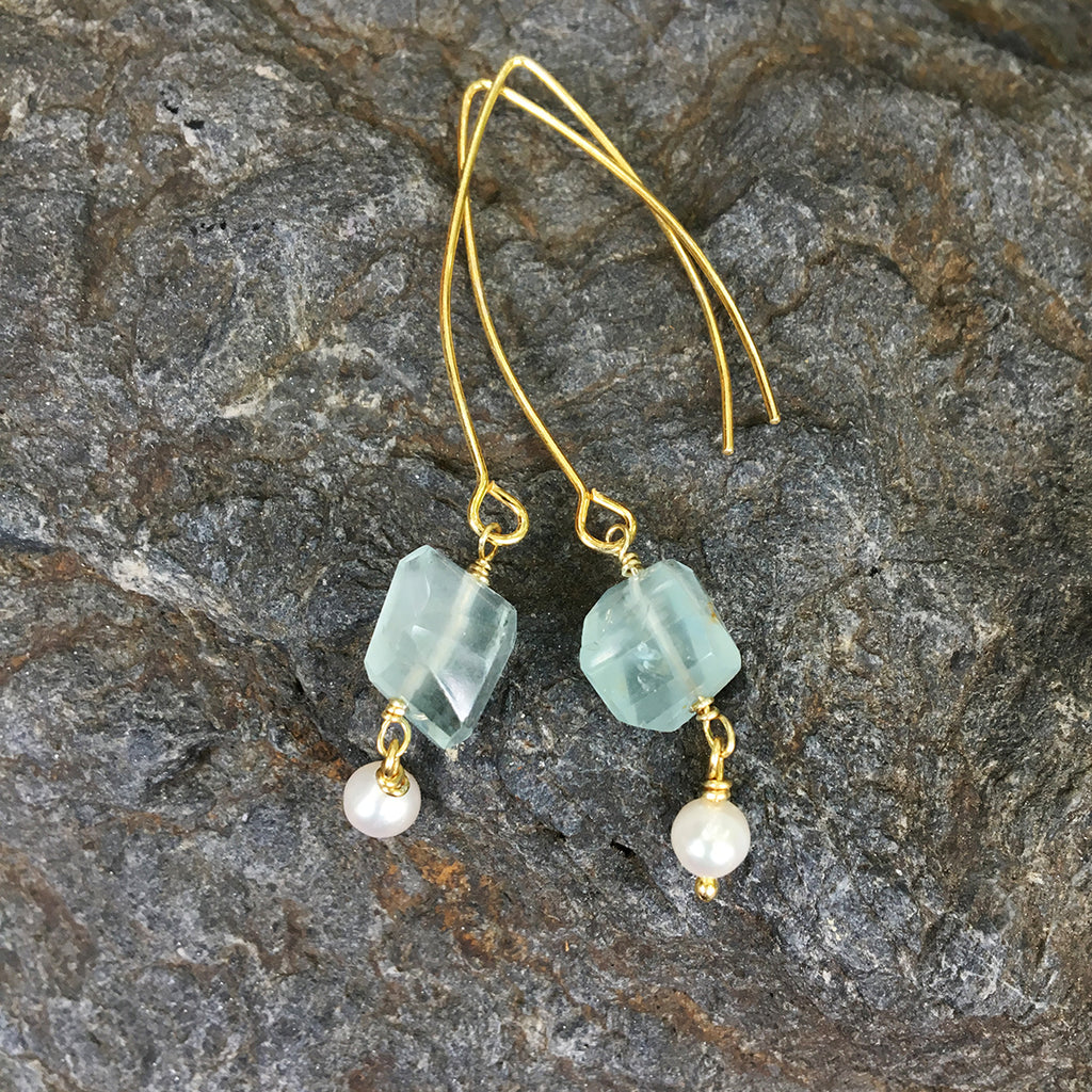 Aqua Marine Faceted Nugget with Tiny Drop Pearl Earrings