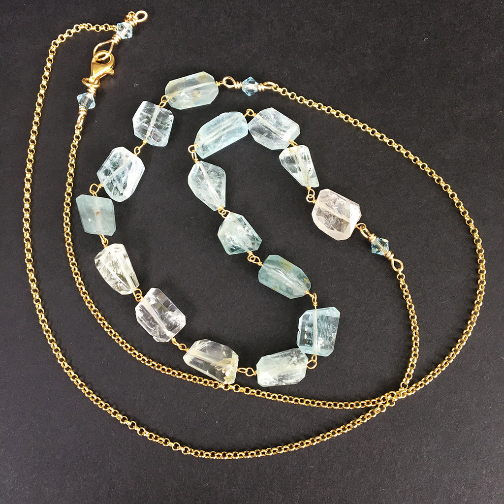 Aquamarine Faceted Nuggets on Gold Chain Necklace