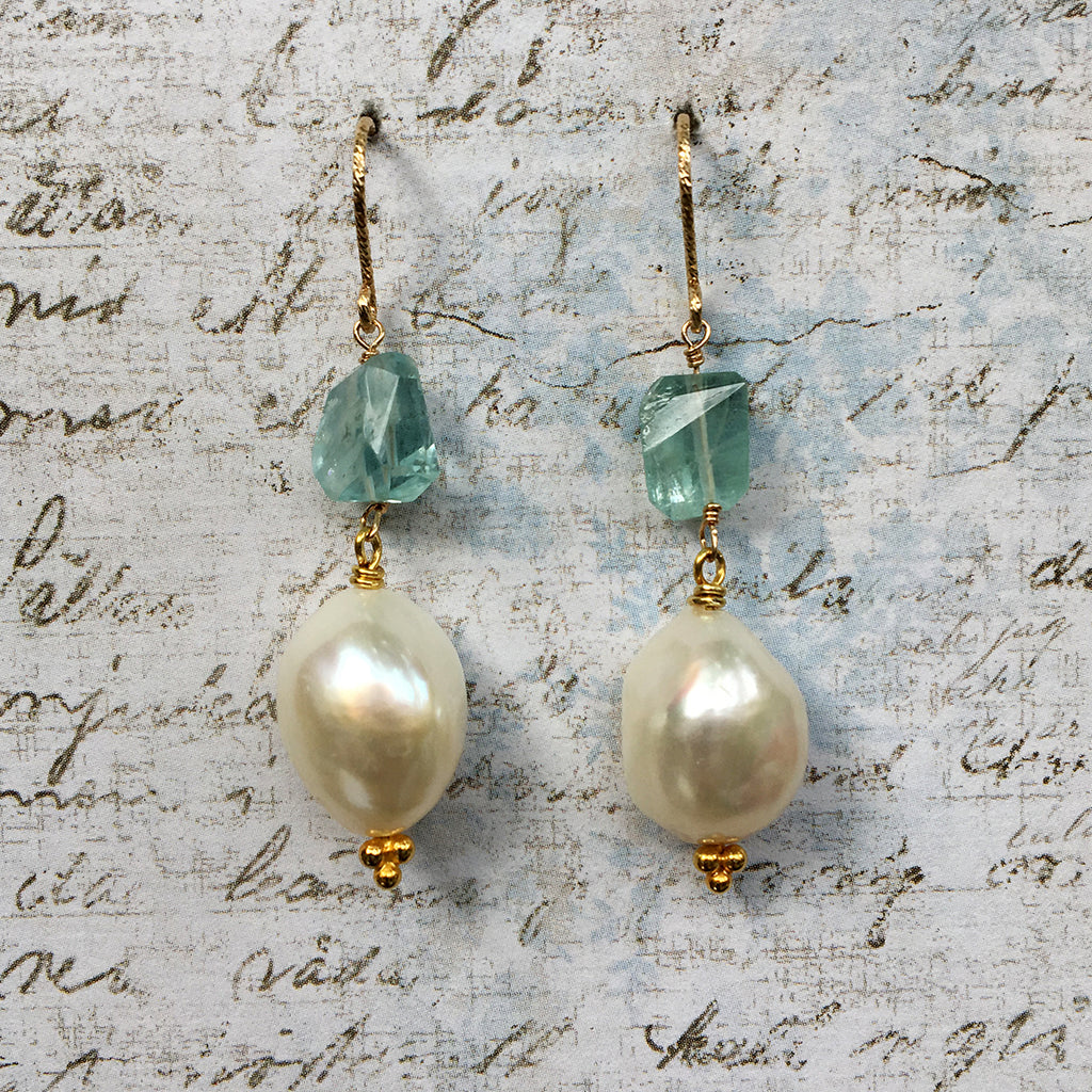 Aquamarine and Large Pearl Earrings