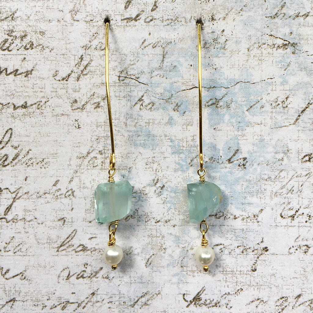 Aquamarine and Pearl Arc Earrings