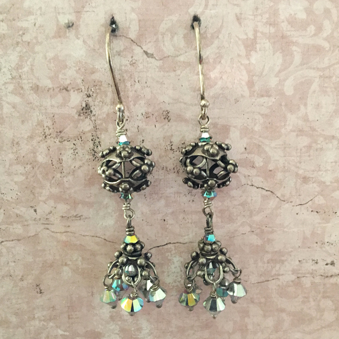 Bali bead and crystal chandelier earrings snow jewels bali bead and crystal chandelier earrings mozeypictures Choice Image