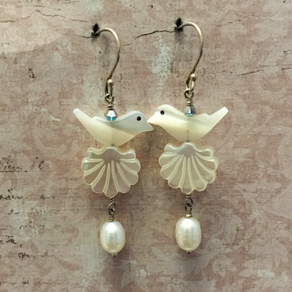 Bird Shell and Drop Pearl Earrings