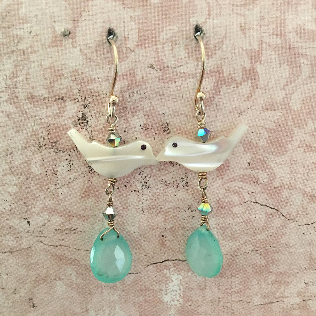 Bird and Aqua Chalcedony Drop Earrings