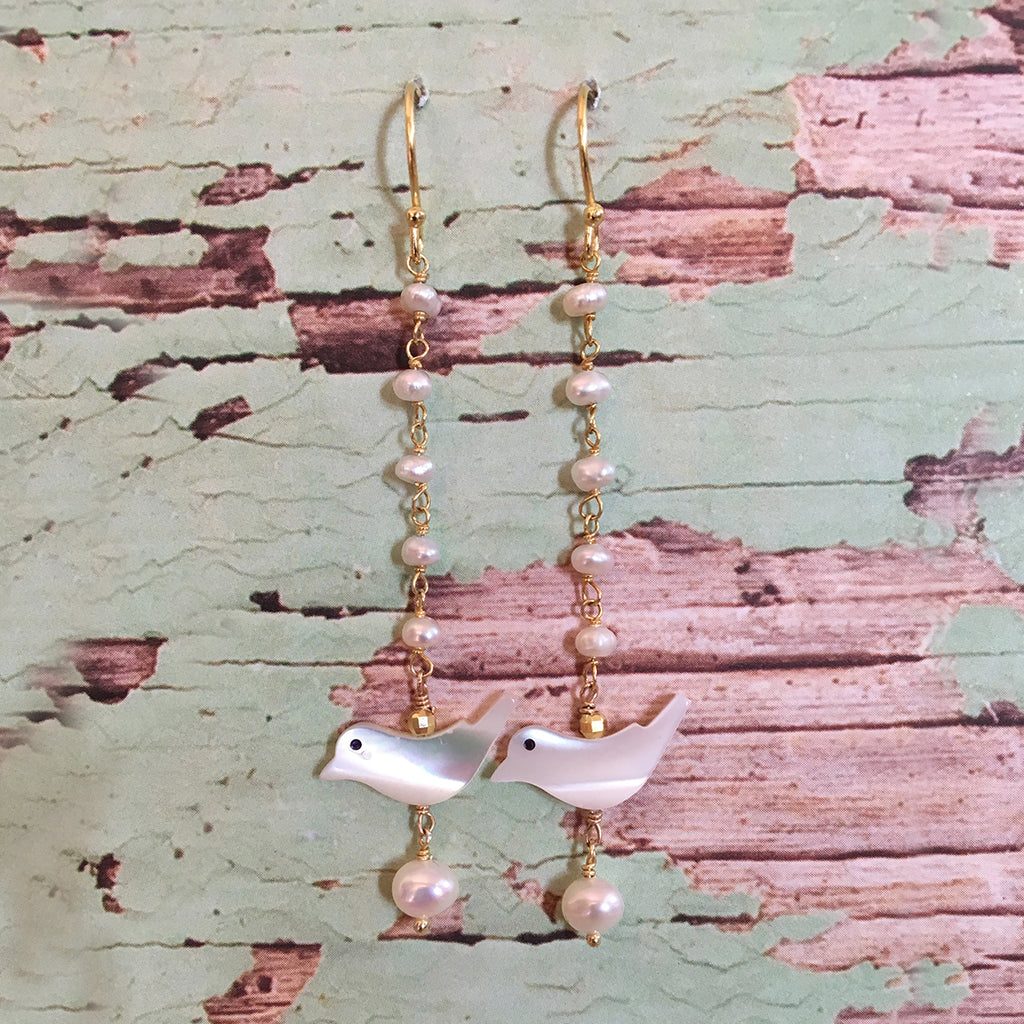 Bird and Pearl Earrings Long
