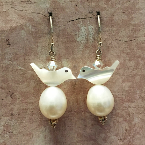 Bird and Pearl Egg Earrings