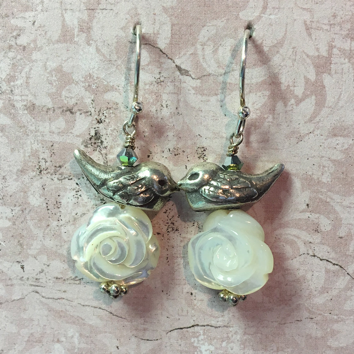 Bird and Rose Earrings