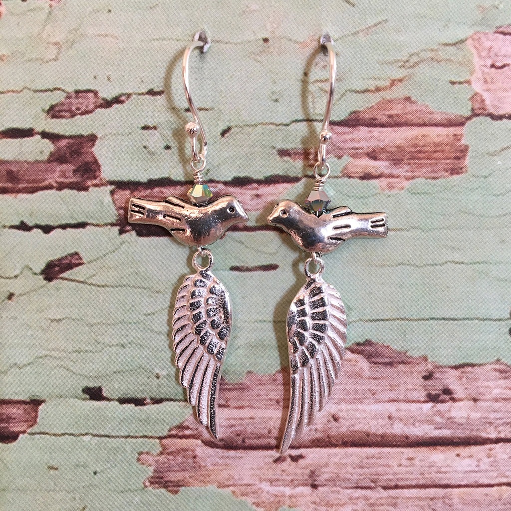 Bird and Wing Earrings