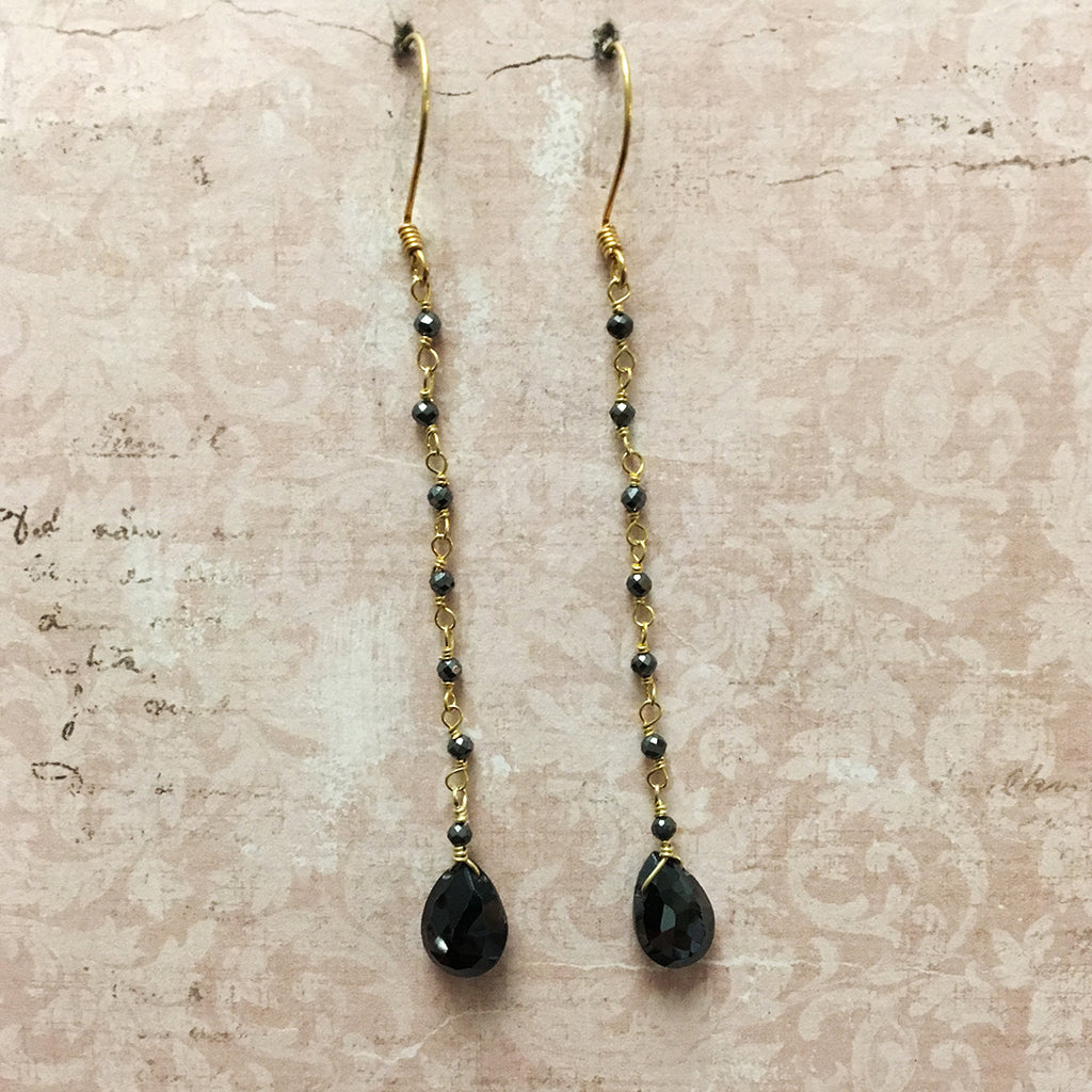 Black Garnet Briolette on Chain Earrings