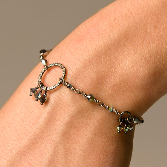Anais Oxidised Sterling Silver Hand-Wired Bracelet with Silver Halo