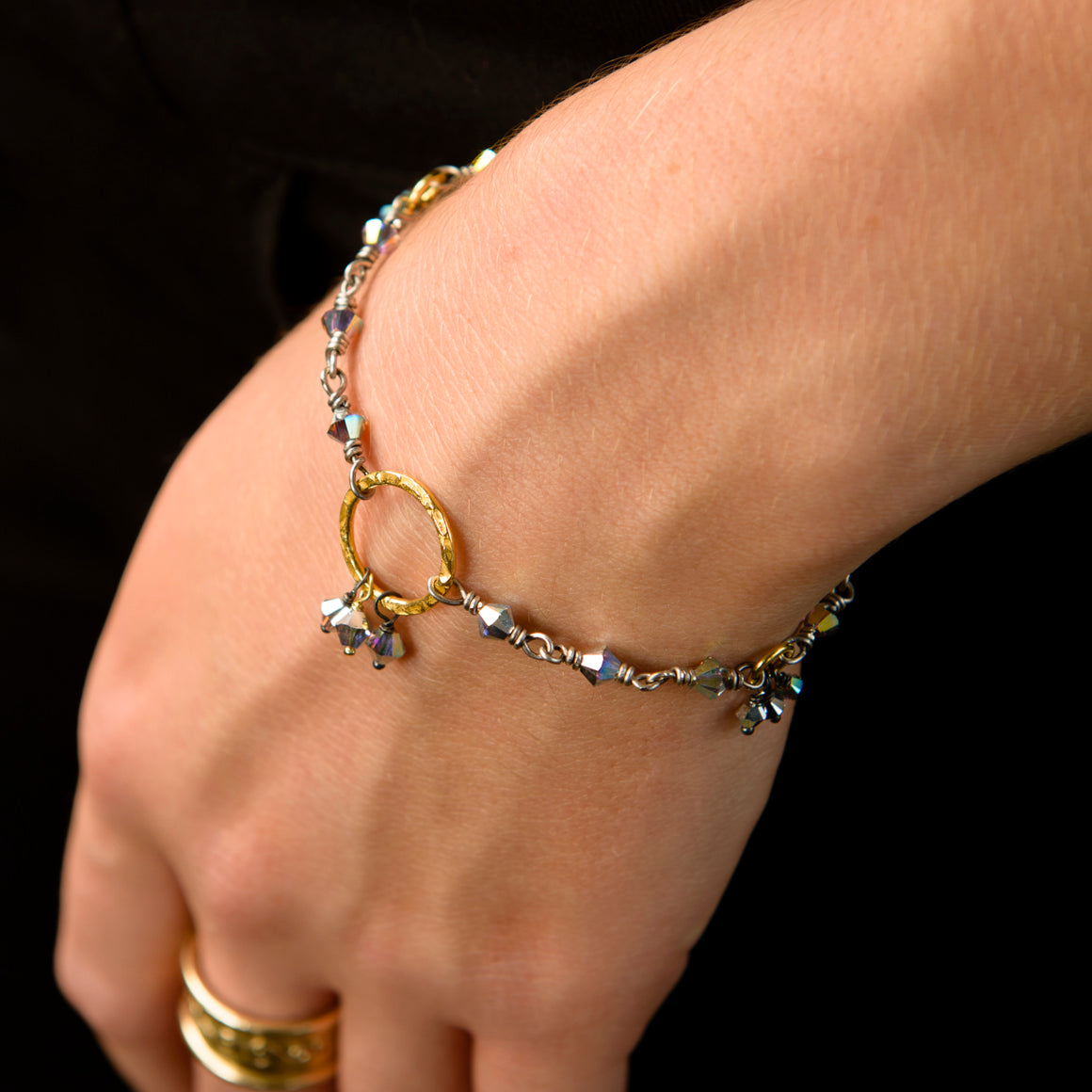 Anais Oxidised Sterling Silver Hand-Wired Bracelet with Gold-on-Silver Halo