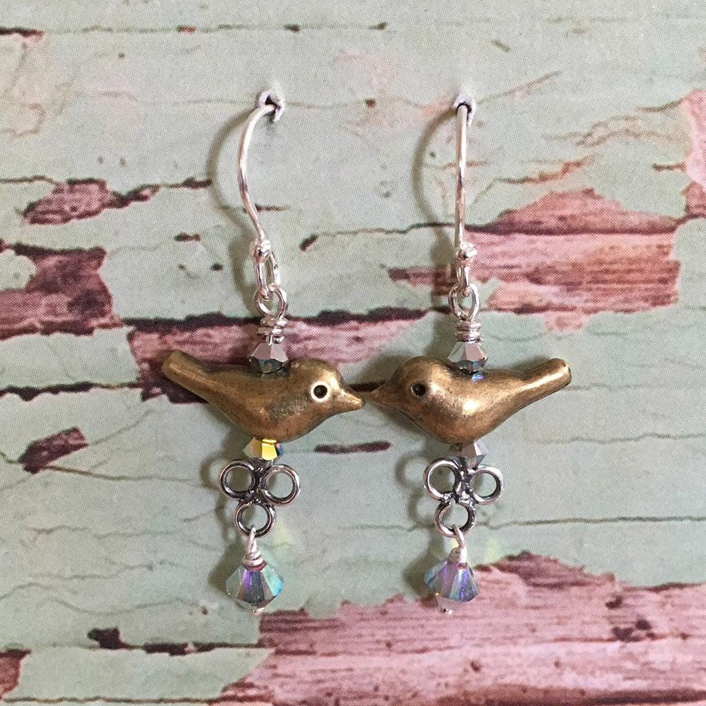 Brass Bird Earrings