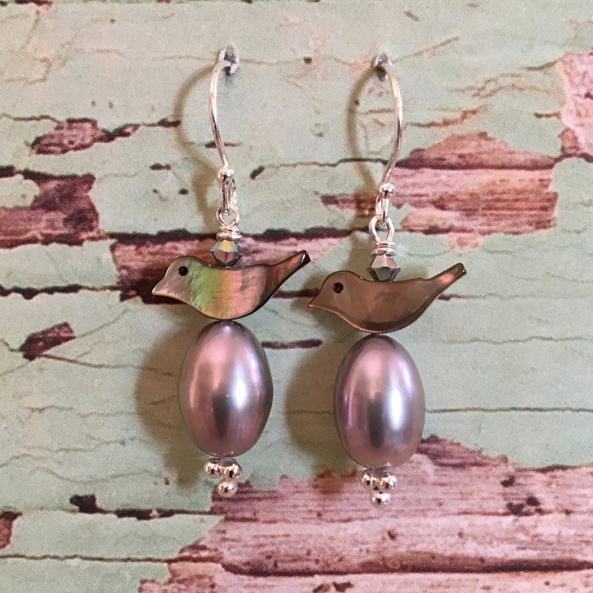 Bird and Pearl Earrings