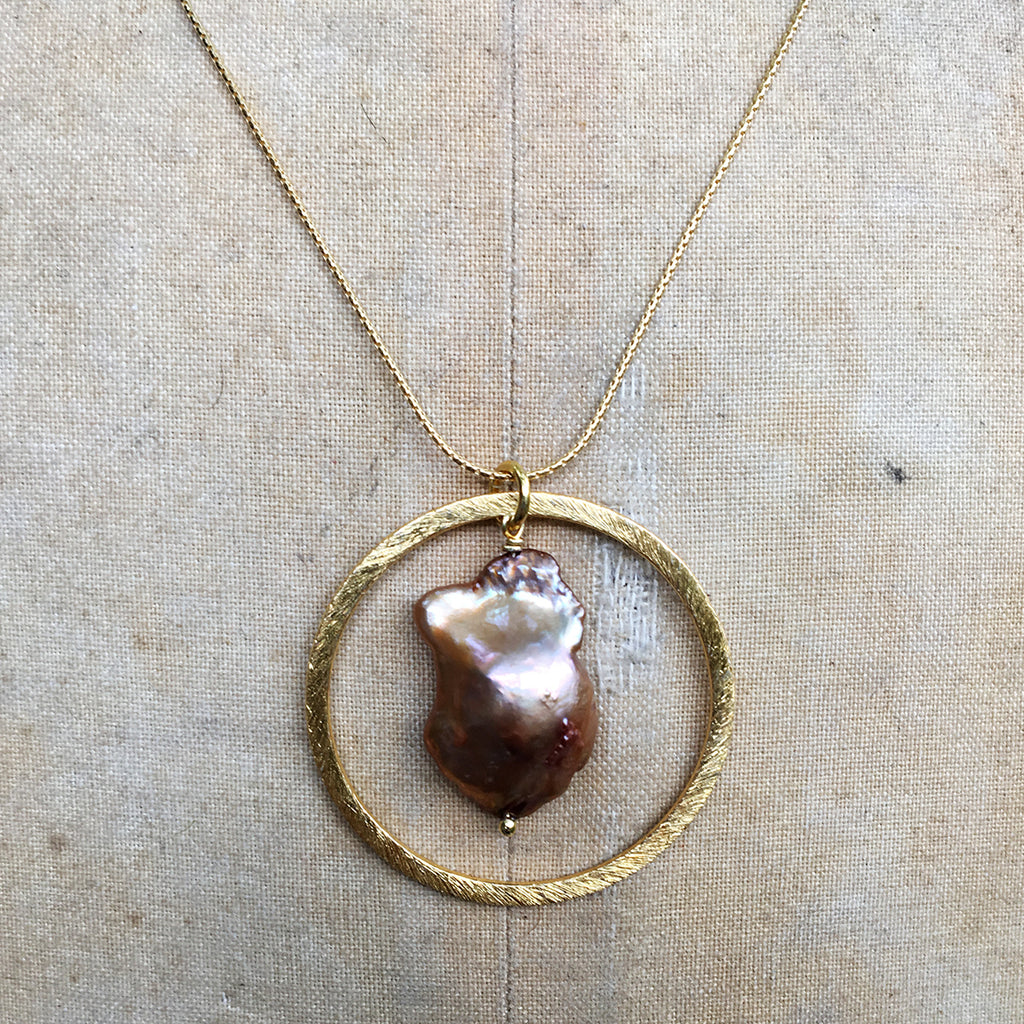 Caramel Baroque Pearl in Gold Halo Necklace