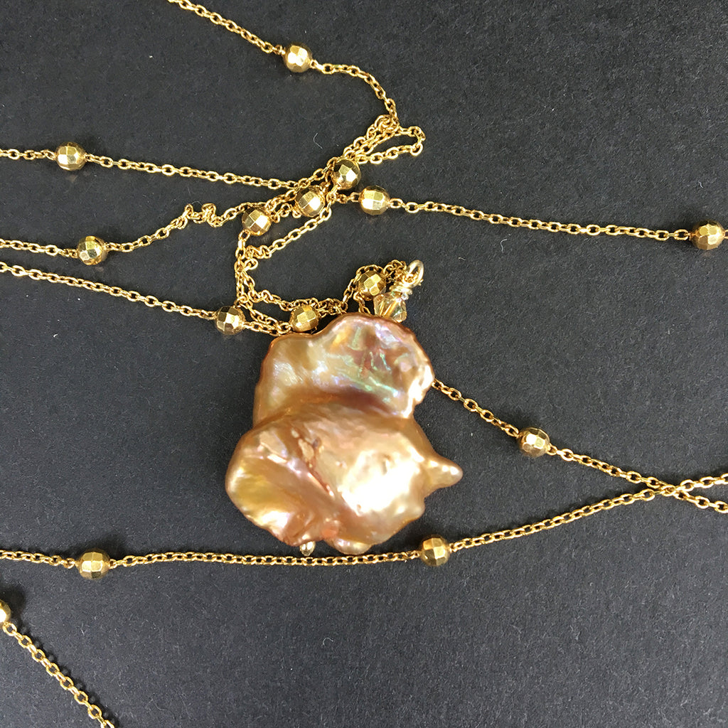 Caramel Baroque Pearl on Extra Long Dotted Gold Chain Necklace