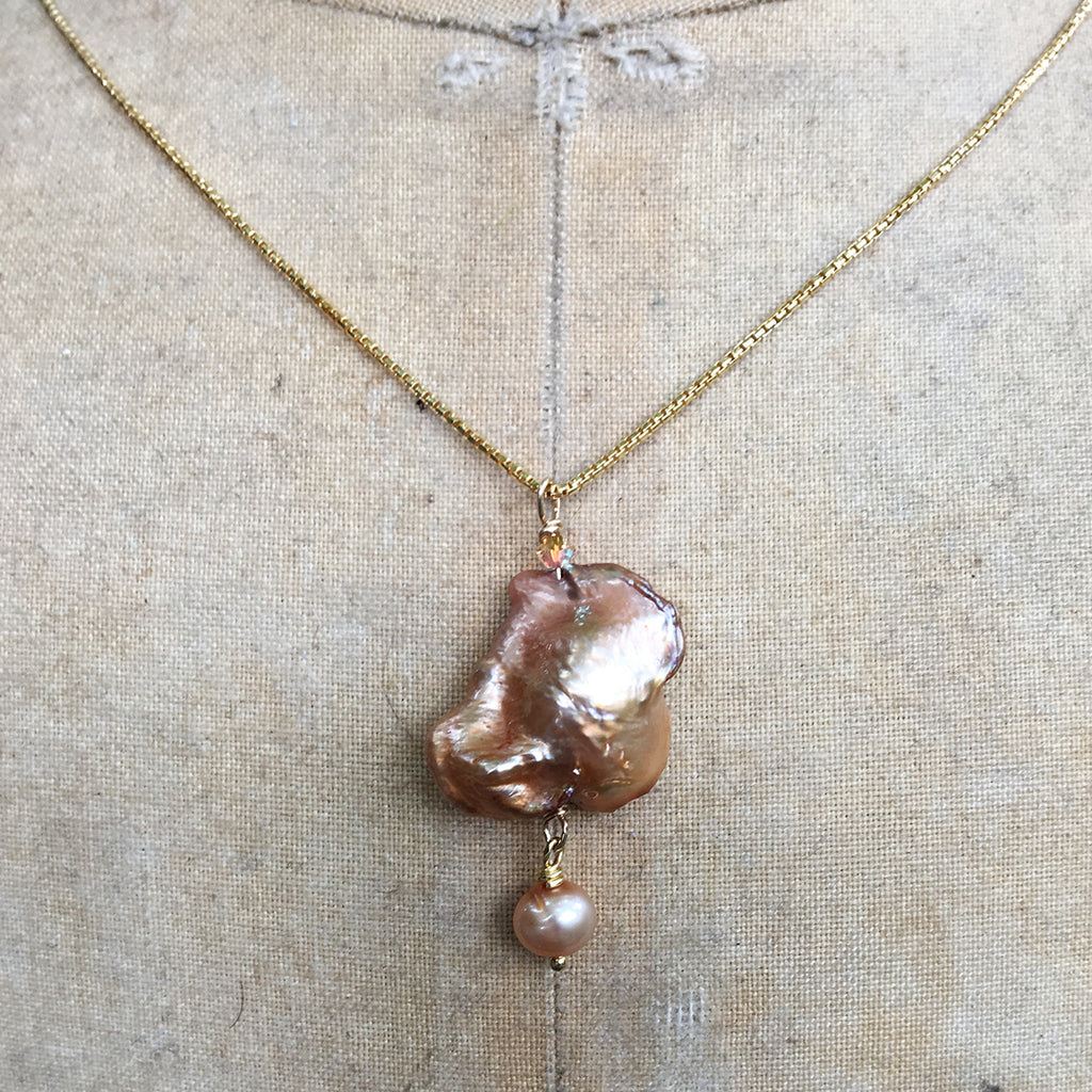 Caramel Baroque Pearl with Tiny Drop Pearl Necklace