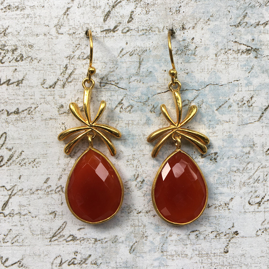 Carnelian Palm Earrings