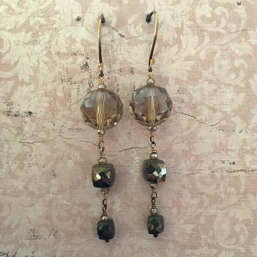 Champagne Crystal and Pyrites Cube Earrings