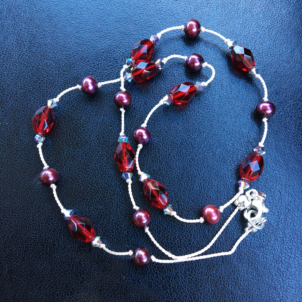 Claret Pearl, Glass and Crystal Dotted Necklace